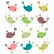 Stock Vector: A set of cute birds