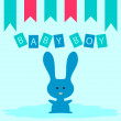 Stock Vector: Bunny baby boy card