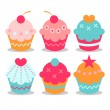 A set of sweet cupcakes — Stock Vector