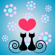 Kitty romance — Vector de stock #12059945