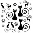 A set of black cat silhouettes — Stock Vector #12059946