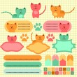 Stock Vector: Cute baby kitten scrapbook elements