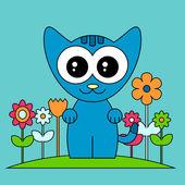 Sweet baby kitten with flowers — Stock Vector
