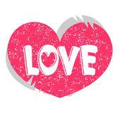 Pink heart love card design — Stock Vector