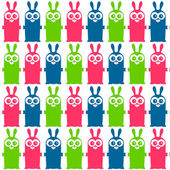 Seamless pattern with funny colorful bunnies — Stock Vector