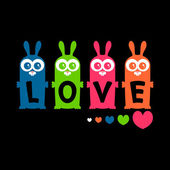 Colorful bunnies love card design — Stock Vector