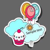 Party sticker design — Stock Vector
