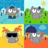 Cute funny kočka v sadě čtyř ročních období — Stock vektor