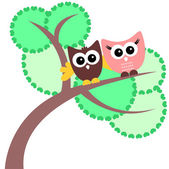 Greeting card with two cute owls — Stock Vector