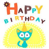 Happy birthday card with happy cat — Stock Vector