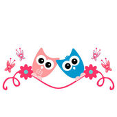 Two cute owls in love romantic card — Stock Vector