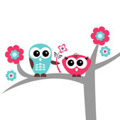 Two cute owls romantic card — Stock Vector