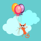 Greeting card cute cat holding balloons — Stock Vector