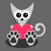 Cute little kitten holding a heart — Stock Vector