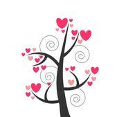 Romantisch mooie ontwerp met boom — Stockvector