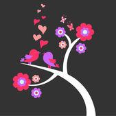Two birds cute romantic card — Stock Vector