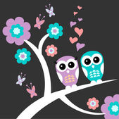 Two owls cute romantic card — Vecteur