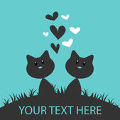 二匹の猫かわいいロマンチックなカード — ストックベクタ