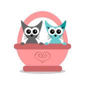 与两只猫的浪漫卡 — 图库矢量图片