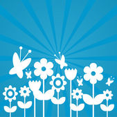 Cute blue greeting card with flower silhouettes — Stock Vector