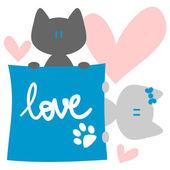 Pareja de gatitos en amor postal — Vector de stock