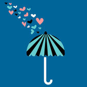 Romantic love card with umbrella — Stock Vector