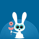 Cute little bunny with flower card — Stockvector