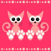Cute couple of kittens card — Stock Vector