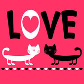 Love card with two funny cats — Stock Vector