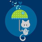 Cute kitty under romantic rain card — Stock Vector