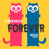Friends forever greeting card two cats — Stock Vector
