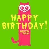 Gatito gracioso de tarjeta de felicitación de cumpleaños — Vector de stock