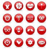 El amor romántico brillante conjunto de iconos — Vector de stock