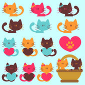 A set of cute kittens — Stock Vector