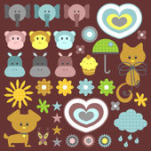 A set of sweet babyish elements — Stock Vector