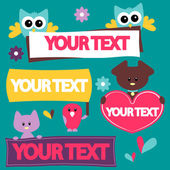 Templates for your text with cute animals — Stock Vector