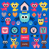 Cute childlike elements with animals — Stock Vector