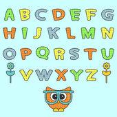 可爱幼稚字母表集 — 图库矢量图片