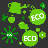 A set of ecological green elements — Stock vektor