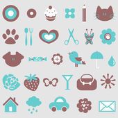 Cute icons design elements set — Stock Vector