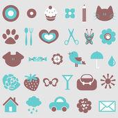 Cute icons design elements set — Stock Vector