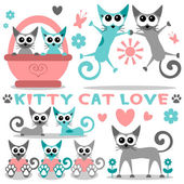 Romantic kitty cat love set — Stock Vector