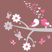 Romantic card two birds in love — Stock Vector