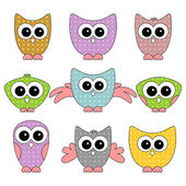 A set of cute childlike owls — Stock Vector