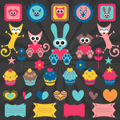 Cute animal stickers design elements — Stock Vector