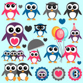 Cute little penguins set — Stock Vector