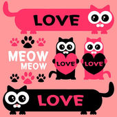 Cute funny kittens romantic elements set — Stockvector