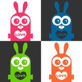 Zestaw kart kolorowy miłość z funny bunny — Wektor stockowy