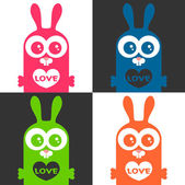 一套有趣的兔子与多彩爱卡 — 图库矢量图片