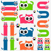 Funny colorful kittens set — Stock Vector